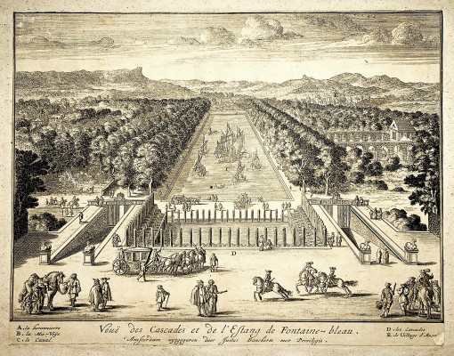 View of the cascades and pond in Fontainebleau. Ca. 1690.