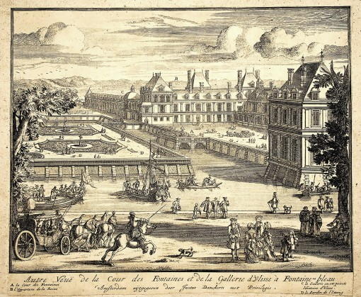 View of the Fountain Courtyard and the gallery of Ulysses in Fontainebleau. Ca. 1690.