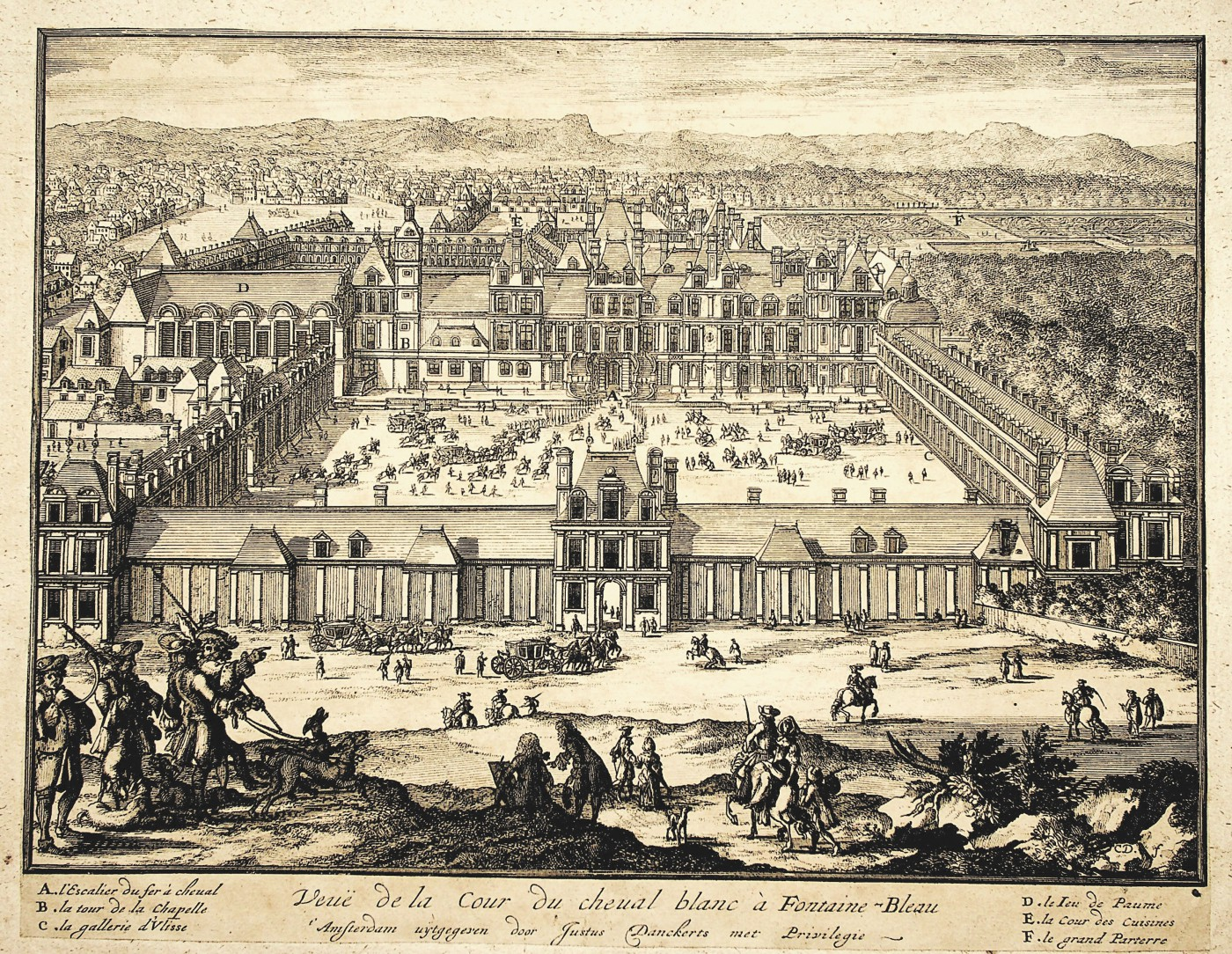 View of the White Horse Courtyard in Fontainebleau. Ca. 1690.