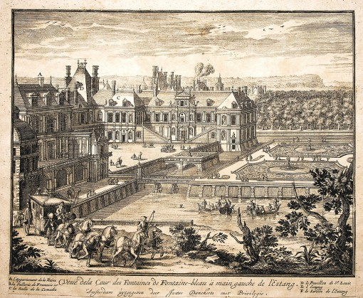 View of the Fountain Courtyard in Fontainebleau to the left of the pond. Ca. 1690.