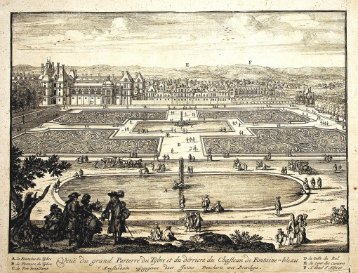 View of the Grand Parterre with the basin of Tiber behind Château  Fontainebleau. Ca. 1690.