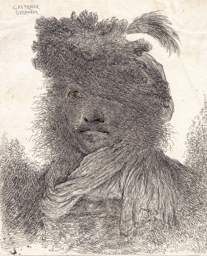 The head of a man in a fur hat in profile. 1645–1650.