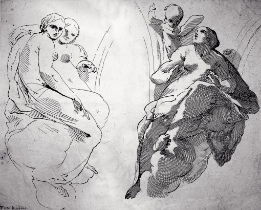 Allegories of virtues with putti. Ca. 1656