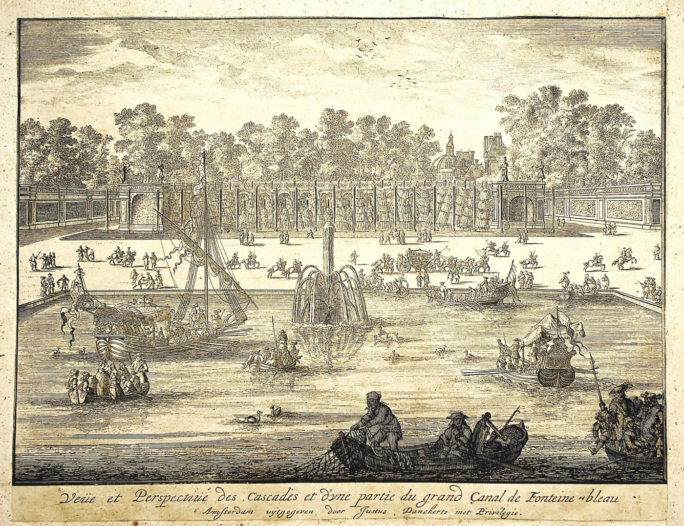 View and perspective of the cascades and part of the Grand Canal in Fonteinebleau.  Ca. 1690.