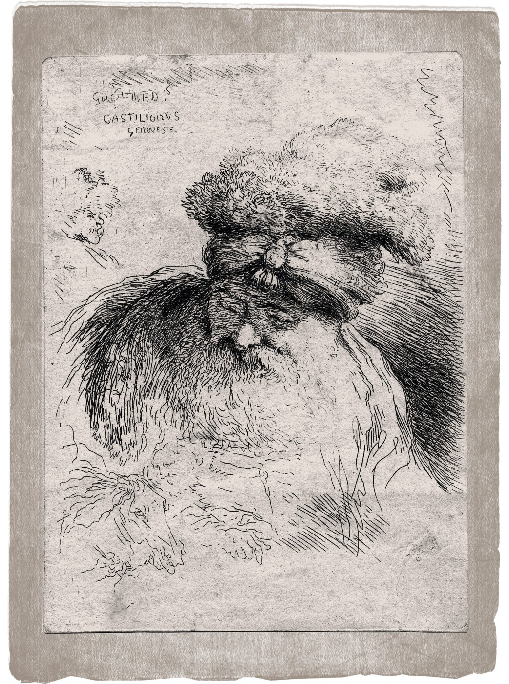 Head of an old bearded man with a turban. 1645–1650.