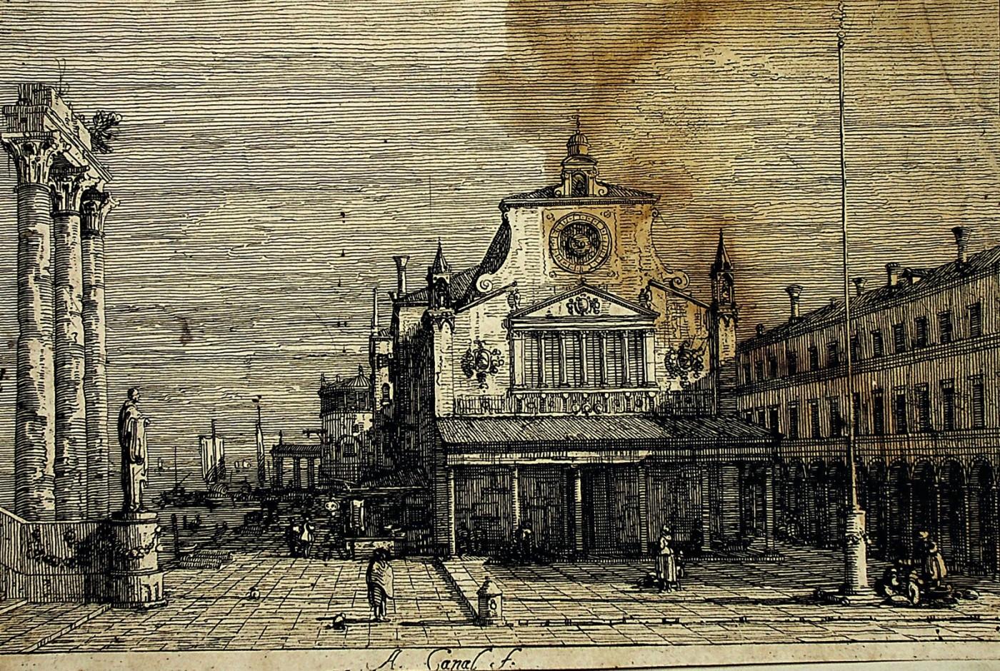 View of the Church of San Giacomo di Rialto in Venice.