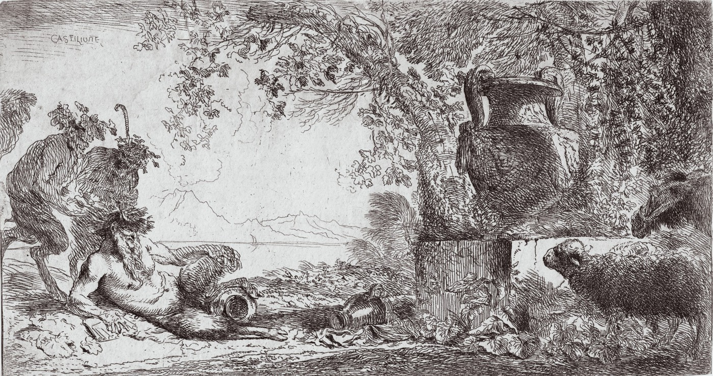 Pan reclining before a large vase. Ca. 1645