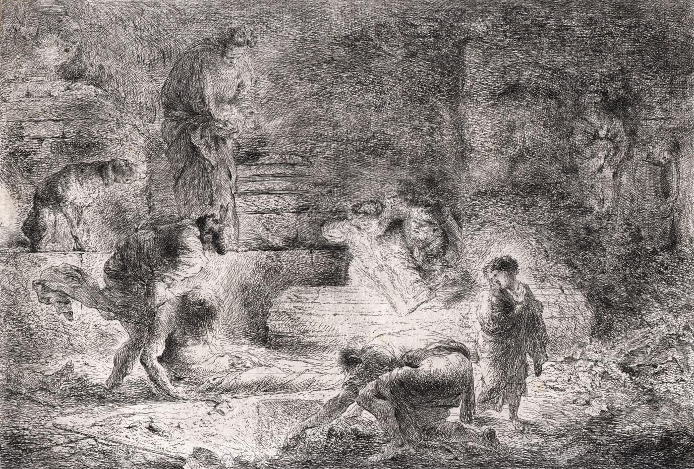 Tobiah burying the Dead. 1647–1651.