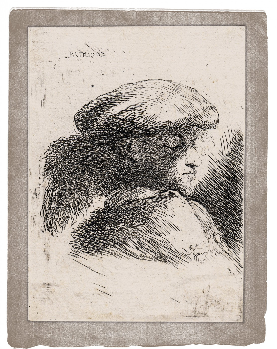 Head of a bearded man with a turban facing right. 1645–1650