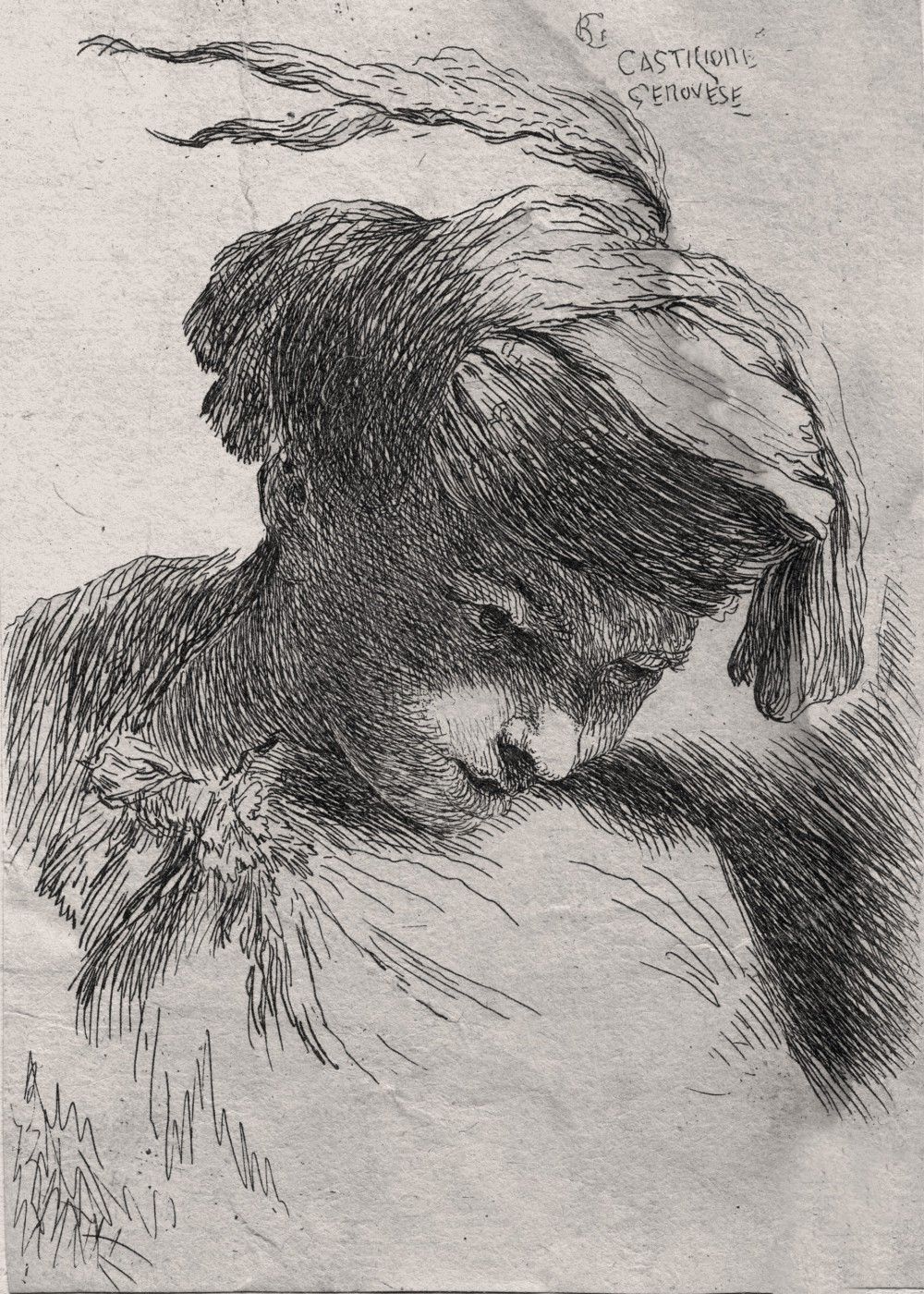 A man wearing a small turban, facing right. 1645–1650.
